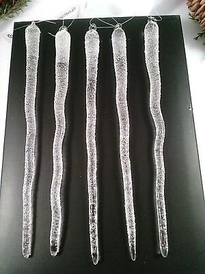 Eis Dekoration (5 Eiszapfen Glas frost 20cm Baumschmuck WEIHNACHTEN Dekoration Glaszapfen )
