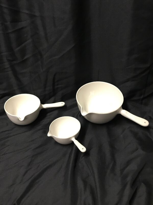 Lot Of 3 Colors Measuring Cups Casserole Crucibles Mid Century Danish Kg Ws23