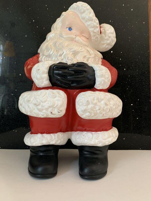 "Vintage Atlantic Mold Ceramic Winking Santa  Retro Figure Christmas 15"""