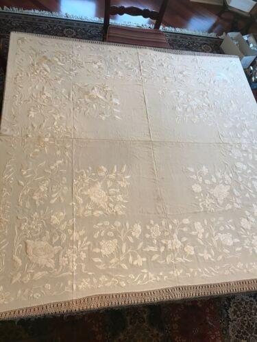 "VTG Silk Embroidered Piano Shawl, Ivory/Cream, 57"" square + 12"" fringe"