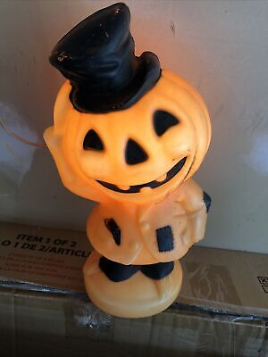 "Vintage 1969 Empire Pumkinhead Scarecrow Halloween Blow Mold Pumpkin 14"" Tested"