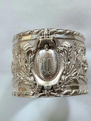 Victorian Fancy Floral Sterling Silver Napkin Ring Harry Atkin Sheffield 1896