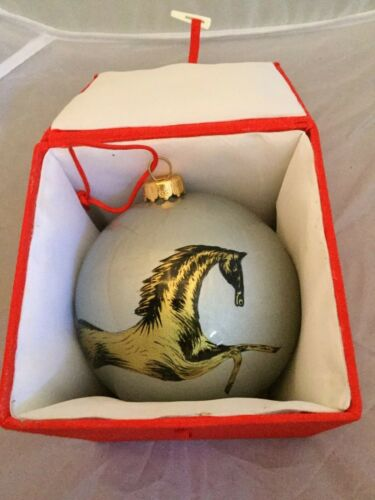 Hand Blown Painted Glass Horse Holiday Ornament NEW Gorgeous Silver Ball Pony