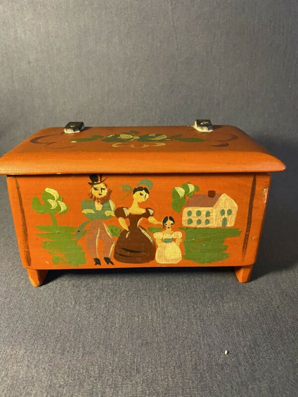 STEVEN Agnes HALL Vermont Small Painted Wooden Box Chest Red House Woodworking