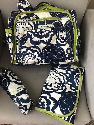 JU JU BE Better Be Backpack/Diaper Bag Cobalt Blossom Blue White & Changing (Best Baby Bag Backpack)