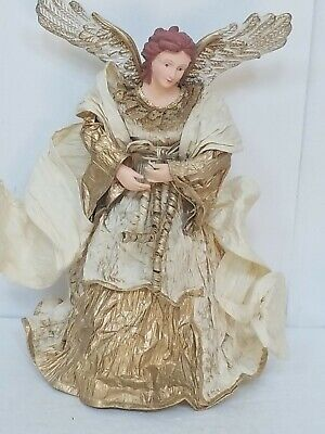 Angel Christmas Tree Topper Stiffened Fabric Centerpiece - 12""