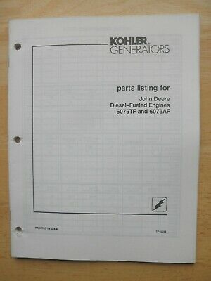 Kohler Generators Parts Listing For John Deere Diesel Engines 6076tf 6076af