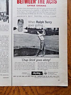 1964 Chap Stick Lip Balm Ad New York Baseball When Ralph Terry Goes Golfing