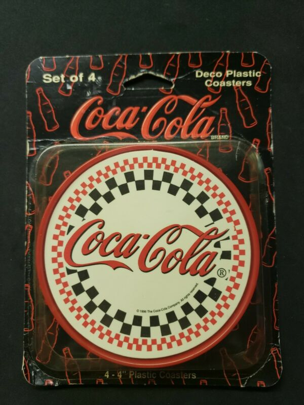 Vintage 1996 Coca Cola Plastic Deco Coasters 4 in. Set of 4 New Old Stock