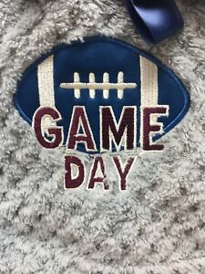 Baby Boys Plush Blanket Soft Infant Custom Embroidered Game Day Football Grey