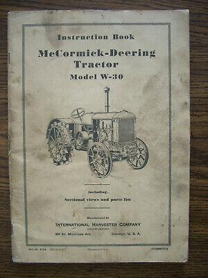 Ih Farmall International Mccormick W30 Owners Manual
