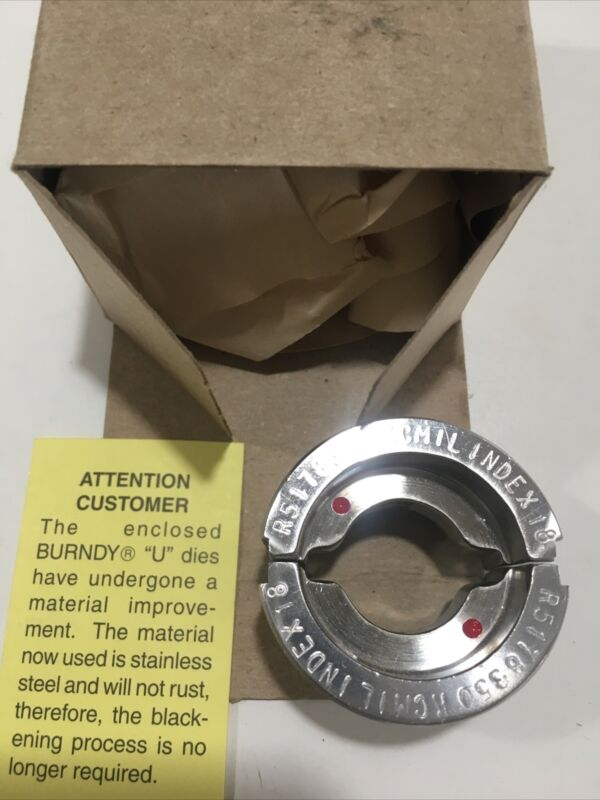 🇺🇸NEW BURNDY U31RTWE Die R5178 350 KCMIL INDEX 18 RED Stainless Steel 🇺🇸