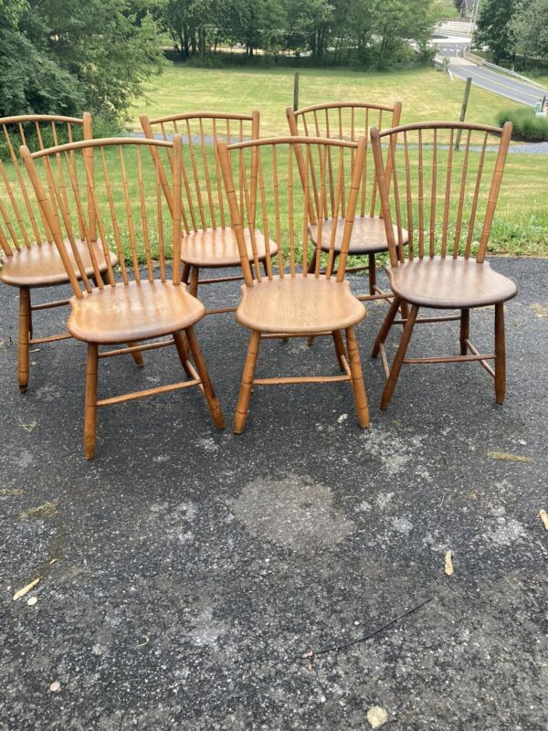 set of 6 country antique windsor rod back chairs 1830 honey color look