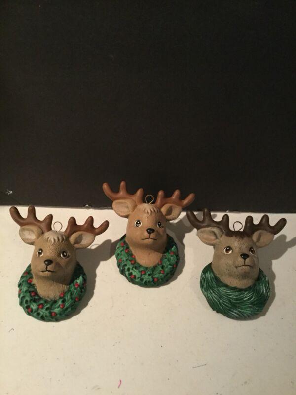 Vintage Ceramic Reindeer Christmas Ornaments Set 3 Wreath Buck Deer 1980s