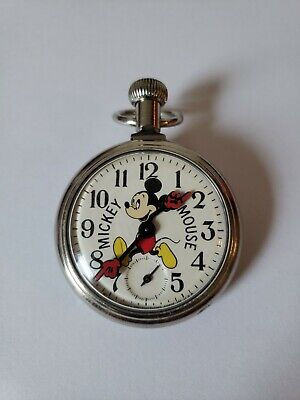Vintage Mickey Mouse Pocket Watch Mechanical walt Disney Made In USA running