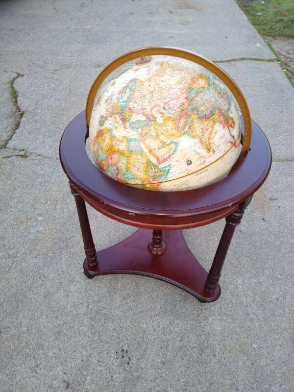 "Vintage Replogle 16"" Globe World Classic Series Wood Stand VG  COND + ORIGINAL"