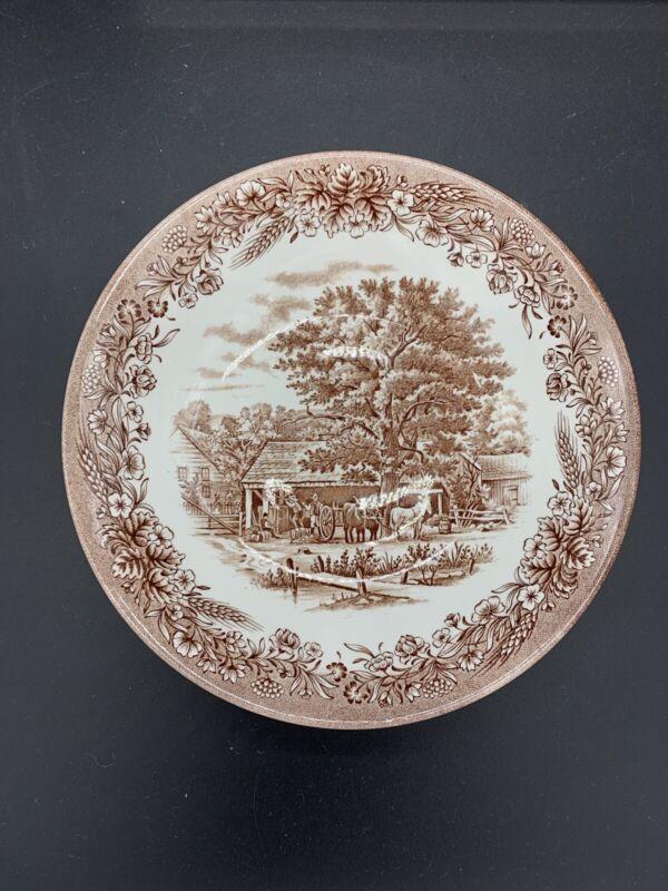 "Currier & Ives Brown Harvest Heritage Churchill Serving Pasta Bowl 9"" England"