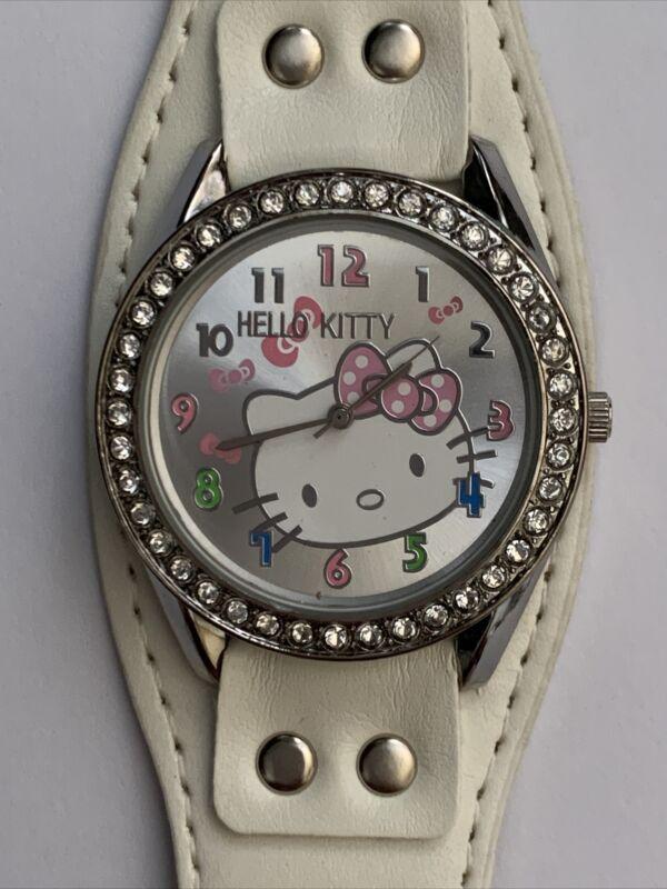 Hello Kitty Watch.   Super Cute!!  New Battery!   White Band.