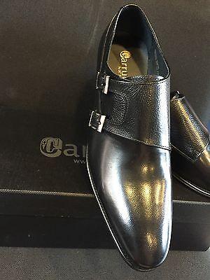 NEW CARRUCCI Double Monk Straps, Black Men's Dress Leather Shoes Size 8.5