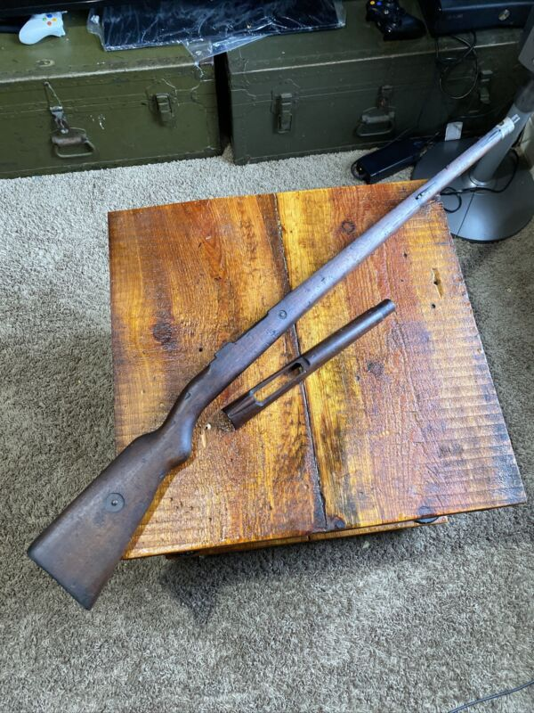 Vintage 1908 Brazilian Mauser Wood Stock With Handguard. Nice Stamps!