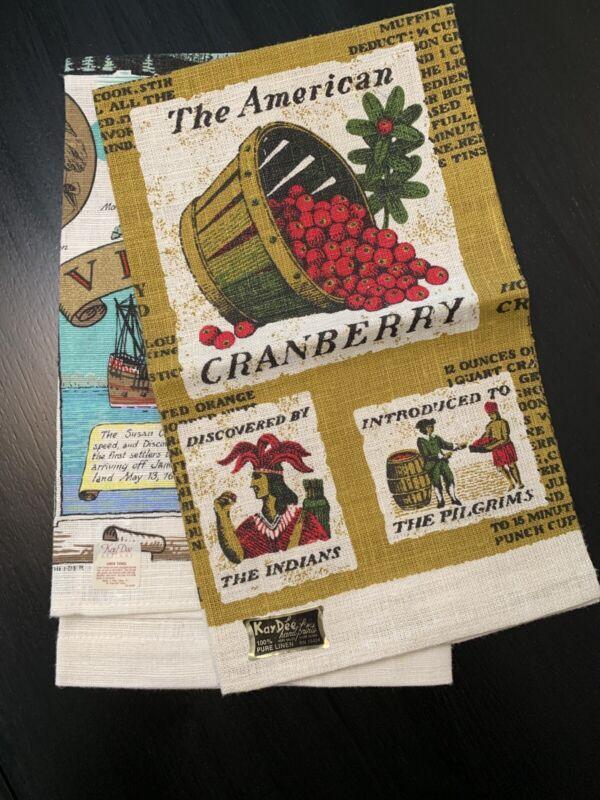 Vintage Kay Dee Designs Americana Tea Towels, 2 Pcs, Linen, Original Labels, USA
