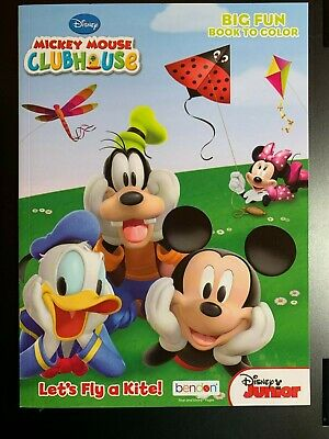 DISNEY MICKEY MOUSE CLUBHOUSE BIG FUN BOOK TO COLOR LET'S FLY A KITE NEW KIDS Flying Kite Book