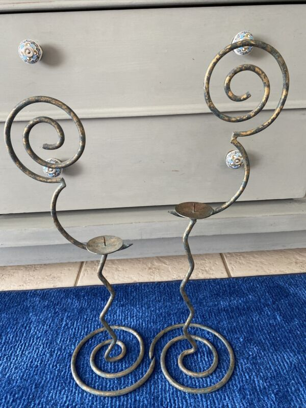 """Wrought iron Bronze  Mickey icon  candle Holders  19"""" & 21.5"""" H"""