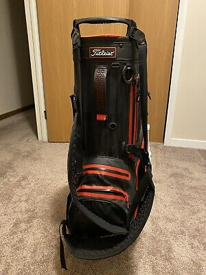 Used Titleist Golf Players 5 Stand Bag Stadry black/white/red With Rain Cover
