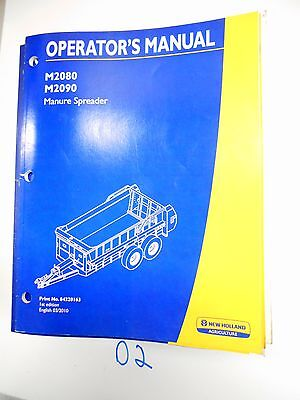 New Holland Operators Owners Manual M2080 M2090 Manure Spreader