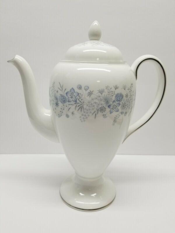 WEDGWOOD BELLE FLEUR COFFEE POT BONE CHINA ENGLAND PALE BLUE MCM