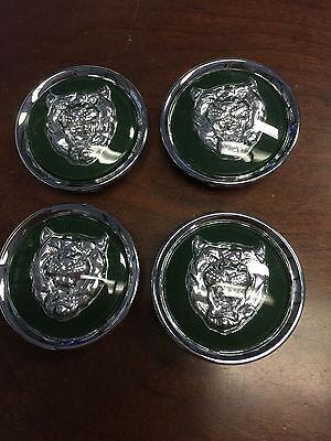 "SET OF 4 NEW JAGUAR CHROME CENTER CAPS X S TYPE XJ8 XK8  2"" FITS ALL - GREEN"