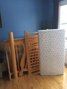 SOLID WOOD crib, monitor, mattress, baby gate, double bed kit
