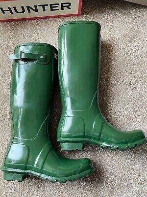 Hunter Original Tall Gloss Wellies. Boots Hunter Green, size 5UK