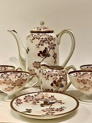 Antique Japanese Eggshell Porcelain Tea Set, 7 Pieces Kutani Ishikawa Prefecture