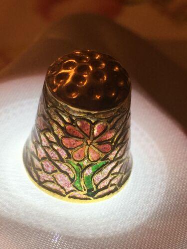 Vintage Plique-A-Jour Floral Panel Gilded Gold Stained Glass Thimble