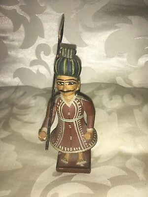 Carved Old Wooden Figure Indian Guard Beautiful Example Indian or Middle Eastern