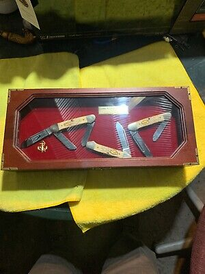 CASE XX GUNBOAT SET Limited Edition 3 Knives 1985 In Wooden Box