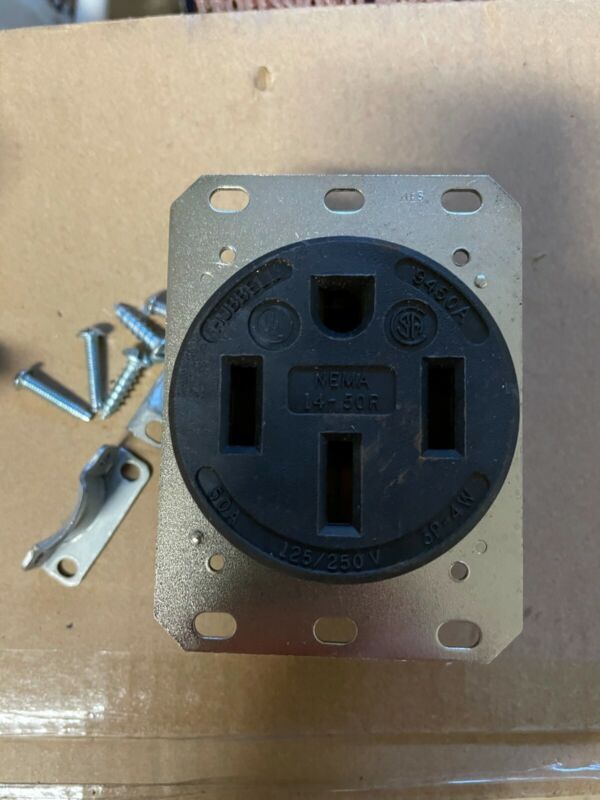 Hubbell Wiring Systems HBL9450A Straight Blade HD Receptacle Flush Mount 50A