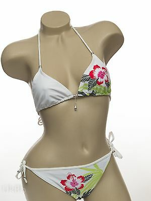White & Green Tropical Floral Tie Side Halterneck Bikini Size 8 Bay Sunshop ()
