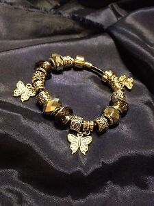 Butterfly Charm Bracelet/Blk Leather London Ontario image 1