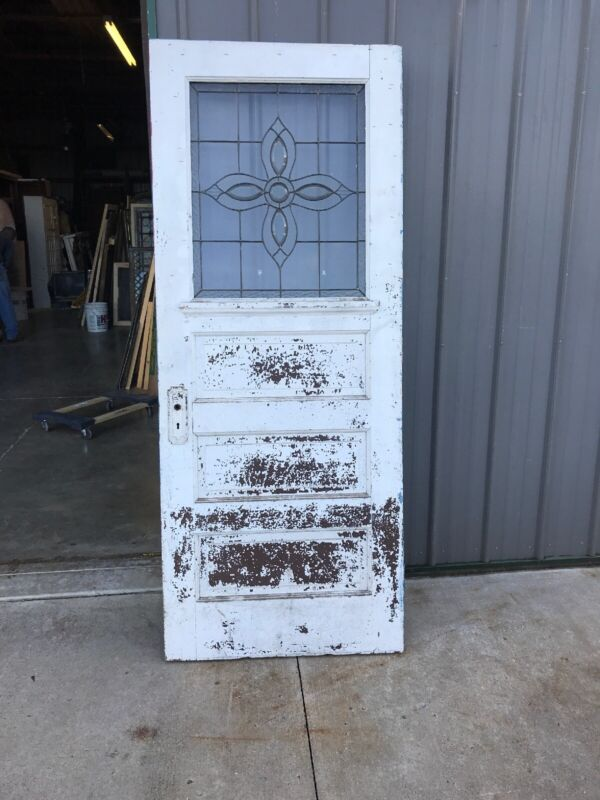 """An556 Antique Entrance Door Leaded Textured Glass 32 X 79 3/8"""""""