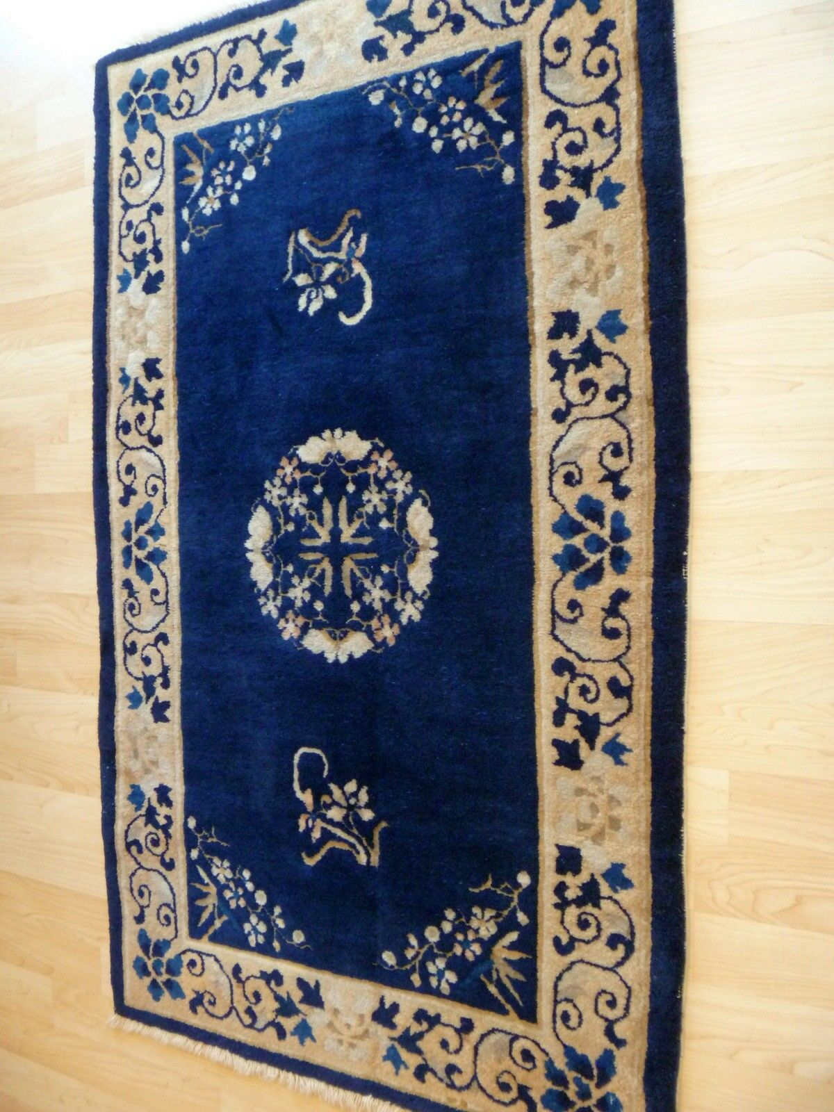 Antique Chinese Oriental 3x5 Ft Rug Peking Blue Beige