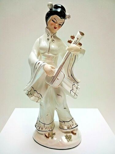 Vintage JAPANESE FEMALE FIGURINE~Playing the Shamisen~1950s MCM~ASIAN~EXCELLENT