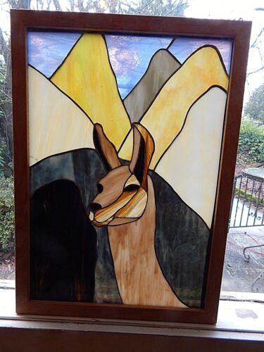 Llama  or Alpacas,  Stained Glass. Handmade.   Approx. 15.5 X 20.5 inches.