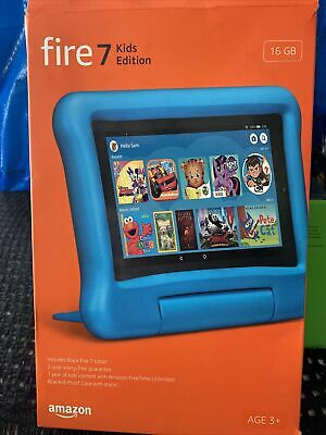 """OPEN BOX Fire 7 Kids Tablet, 7"""" Display, ages 3-7, 16 GB, Blue Kid-Proof Case"""