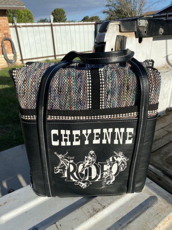 Vintage Cheyenne Frontier Days Cheyenne Souvenir Seat Cushion Bronco Rodeo