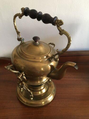 Vintage Victorian Brass Tea Pot Kettle w/ Burner Warmer Stand Wood Handle