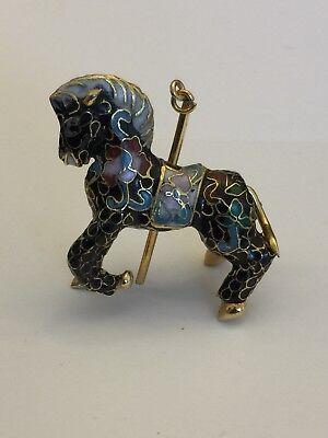 Vtg. Cloisonné Carousel Horse Black Gold Enamel Christmas Ornament/Pendant