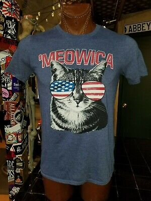 (W) 'Meowica cat with American Flag sunglasses dusty blue no tag (Cat With American Flag)