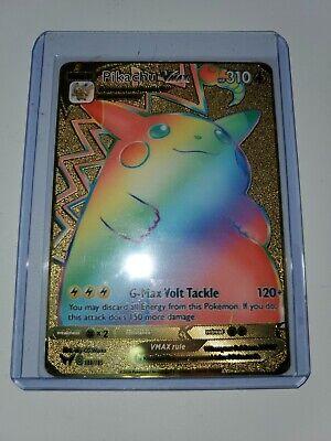 Pikachu VMAX Vivid Voltage Metal Pokemon Card Gold CUSTOM 188/185 Rainbow